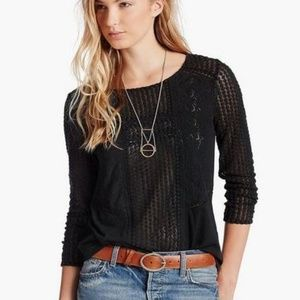 LUCKY BRAND Lace Peasant Top